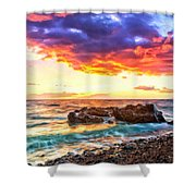 Black Sand Sunset Shower Curtain