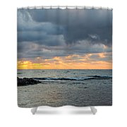 Black Sea Sunrise Before Storm Shower Curtain