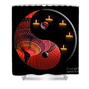 Black Tao Shower Curtain by Delphimages Photo Creations