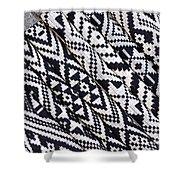 Black Thai Fabric 03 Shower Curtain