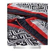 Black Thai Fabric 04 Shower Curtain