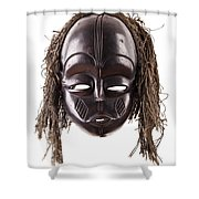 Black Tribal Face Mask On Isolated On White Shower Curtain