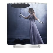 Black Umbrella Shower Curtain