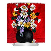 Black Vase With Daisies Shower Curtain