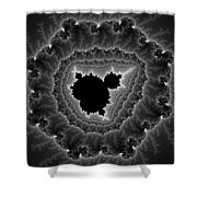 Black White And Grey Mandelbrot Fractal Art Shower Curtain