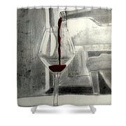 Black White And Red Wine Shower Curtain
