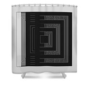 Black White Gray Square Geometric Shower Curtain