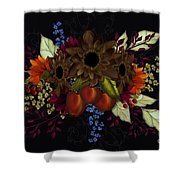 Black With Flowers And Fruit Shower Curtain