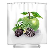 Blackberries And Green Apple Shower Curtain
