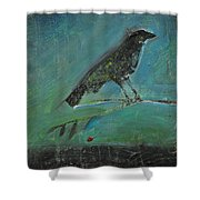 Blackbird Redberry Shower Curtain