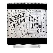 Blackjack Black And White Shower Curtain