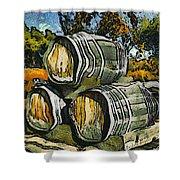 Blackjack Winery Wine Barrels Shower Curtain