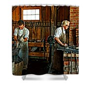 Blacksmith And Apprentice Shower Curtain