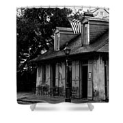Blacksmith Shop On A Rainy Day Bw Shower Curtain
