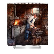 Blacksmith - The Smith Shower Curtain by Mike Savad