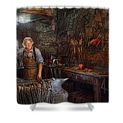 Blacksmith - Working The Forge  Shower Curtain by Mike Savad