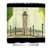 Blackwell Island Lighthouse Ny Chart Map Art Shower Curtain