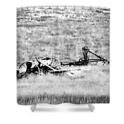 Black And White Of Old Farm Equipment Shower Curtain