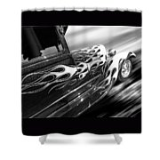 Blazing A Trail - Ford Model A 1929 In Black And White Shower Curtain