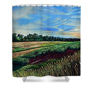 Blazing Sun On Farmland Shower Curtain
