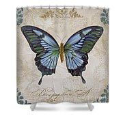 Bleu Papillon-a Shower Curtain