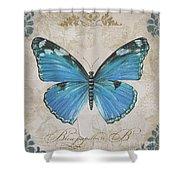 Bleu Papillon-b Shower Curtain