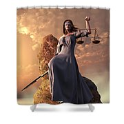Blind Justice With Scales And Sword Shower Curtain by Daniel Eskridge