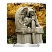 Blissful Angel In Autumn Shower Curtain