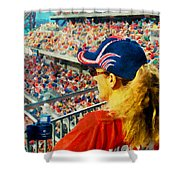 Blonde At The Ballgame Shower Curtain