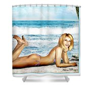 Blonde On Beach Shower Curtain