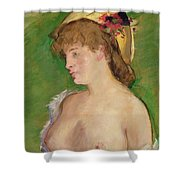 Blonde With Bare Breasts Shower Curtain