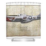 Blondie P-51d Mustang - Map Background Shower Curtain