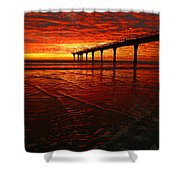 Blood Red Dawn Shower Curtain