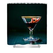 Bloody Eyeball In Martini Glass Shower Curtain by Edward Fielding