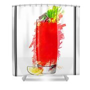 Bloody Mary Cocktail Marker Sketch Shower Curtain