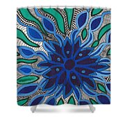 Blooming In Blue Shower Curtain