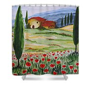 Blooming Poppy In Tuscany Shower Curtain