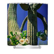 Blooming Saguaro Shower Curtain
