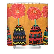 Blooms In Native Dress Shower Curtain