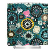 Blooms Teal Shower Curtain