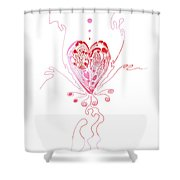 Blossoming Love Pink And Red Valentine Shower Curtain