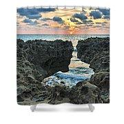 Blowing Rocks Sunrise Shower Curtain