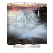 Blowing Rocks Sunrise Explosion Shower Curtain by Mike  Dawson