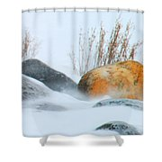 Blowing Snow And Rocks Shower Curtain