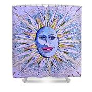 Blu Glitter Sun Shower Curtain