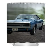Blue 70 Charger Shower Curtain