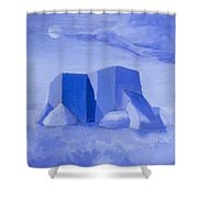 Blue Adobe Shower Curtain