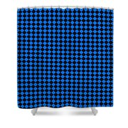 Blue And Black Checkered Pattern Cloth Background Shower Curtain