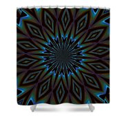Blue And Brown Floral Abstract Shower Curtain
