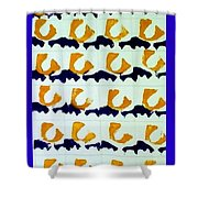 Blue And Gold Notecard Shower Curtain